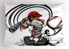 Beyzbol Oyuncusu Yastık Kılıfı Gri Spor Dekoratif