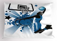 Mavi Basketbol Oyuncusu Yastık Kılıfı Yıldız Spor Top