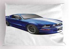 Mavi Spor Araba Yastık Kılıfı Otomobil Şık Tasarım