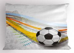 Futbol Topu Desenli Yastık Kılıfı Çizgili Spor Şık
