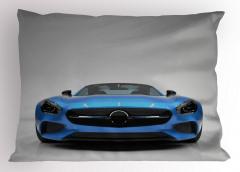 Mavi Spor Araba Desenli Yastık Kılıfı Gri Dekoratif