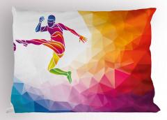 Şut Çeken Futbolcu Yastık Kılıfı Soyut Rengarenk