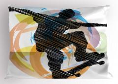 Karalama Kaykaycı Yastık Kılıfı Siyah Dekoratif