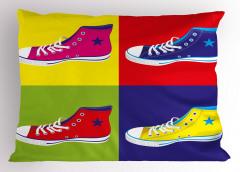 Rengarenk Ayakkabılar Yastık Kılıfı Spor Dekoratif