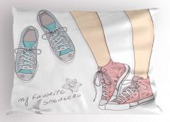 Pembe Mavi Ayakkabılar Yastık Kılıfı Çiçek Kuş Spor