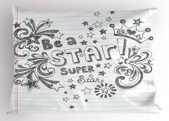 Süper Star Ol Yastık Kılıfı Yıldız Siyah Beyaz