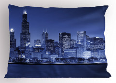 Gökdelenli Şehir Yastık Kılıfı Mavi Gökyüzü Akşam