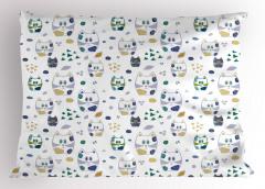 Komik Kedi Desenli Yastık Kılıfı Sevimli Mavi Kalp