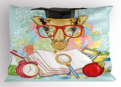 Kırmızı Gözlüklü Zürafa Yastık Kılıfı Saat Elma Şık