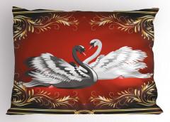 Çifte Kuğular Yastık Kılıfı Altın Şık Tasarım