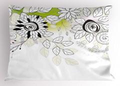 Çiçekler ve Yapraklar Yastık Kılıfı Bahar Dekoratif