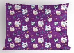 Mavili Sevimli Kediler Yastık Kılıfı Mor Fonlu Şık