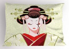 Çiçekli Saçlı Geyşa Yastık Kılıfı Japon Dekoratif