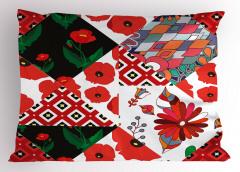Kırmızı Çiçek Desenli Yastık Kılıfı Dekoratif Çeyizlik
