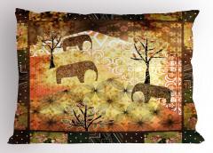 Kahverengi Filler Yastık Kılıfı Ağaç Dekoratif