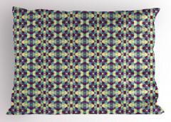 Mor Mavi Dörtgenler Yastık Kılıfı Çizgili Geometrik