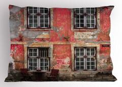 Kırmızı Ev Desenli Yastık Kılıfı Masa Sandalye