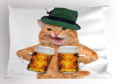 Biracı Sarman Yastık Kılıfı Kedi Şapka Komik