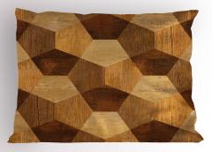 Geometrik Ahşap Yastık Kılıfı Kahverengi Dekoratif