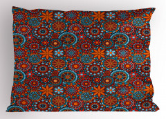 Turuncu Mavi Daireli Yastık Kılıfı Geometrik Çiçek