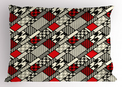 Kırmızı Siyah Çizgili Yastık Kılıfı Geometrik Şık