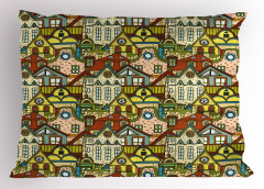 Yeşil Kahverengi Evler Yastık Kılıfı Şık Tasarım