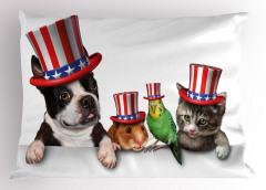 ABD Şapkalı Hayvanlar Yastık Kılıfı Komik Dekoratif