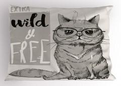 Gri Gözlüklü Kedi Yastık Kılıfı Komedi Dekoratif