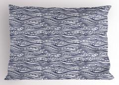 Mavi Beyaz Çizgili Yastık Kılıfı Şık Tasarım Geometrik