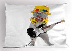 Şapkalı Papyonlu Kedi Yastık Kılıfı Gitar Dekoratif