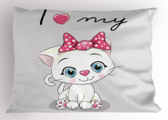 Kedimi Seviyorum Yastık Kılıfı Pembe Beyaz Dekoratif