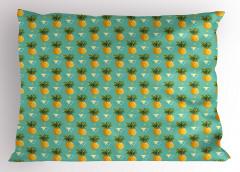 Leziz Ananas Desenli Yastık Kılıfı Tropikal Üçgen Mavi