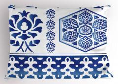 Mavi Beyaz Çiçekli Yastık Kılıfı Geleneksel Şık