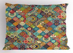 Çiçekli Geometrik Yastık Kılıfı Rengarenk Şık