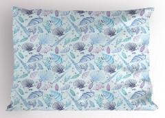 Mor Mavi Deniz Kabuğu Yastık Kılıfı Şık Tasarım