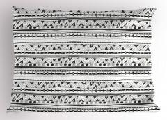 Gri Beyaz Geometrik Yastık Kılıfı Çizgili Dekoratif