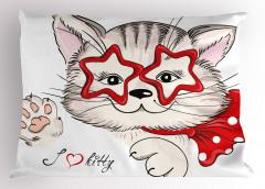 Yıldız Gözlü Kedi Yastık Kılıfı Kırmızı Dekoratif