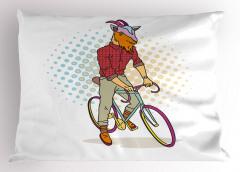 Mor Bisikletli Keçi Yastık Kılıfı Komik Dekoratif