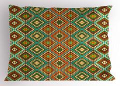 Kahverengi Yeşil Desen Yastık Kılıfı Geometrik Şık