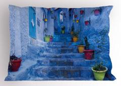 Merdivendeki Saksılar Yastık Kılıfı Mavi Dekoratif