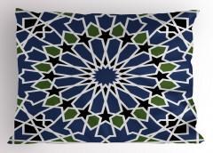 Mavi Yeşil Çiçekli Yastık Kılıfı Yıldızlı Geometrik