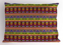 Kuşlu Etnik Desen Yastık Kılıfı Çizgili Dekoratif