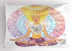 Lotus Oturuşu Yastık Kılıfı Kadın Yoga Sağlık