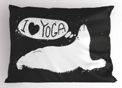 Yogayı Seven Ayı Yastık Kılıfı Gri Beyaz Hayvan