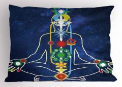 Çakralar ve Çiçek Yastık Kılıfı Mavi Yoga Sağlık