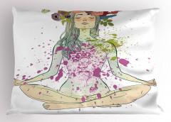 Yogacı Çiçekli Kız Yastık Kılıfı Sağlık Spor Hobi