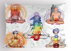 Yoga Oturuşu Yastık Kılıfı Mavi Sağlık Spor