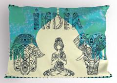 Fil ve Yogacı Kadın Yastık Kılıfı Hz. Fatıma Mavi