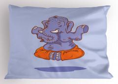 Mavi Uçan Fil Yastık Kılıfı Turuncu Yoga