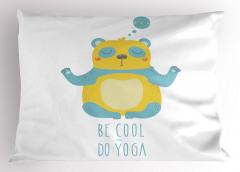 Yogacı Panda Desenli Yastık Kılıfı Sağlık Spor